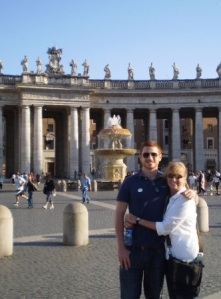 Josh, with his mom at St. Peter's Square in Vatican City