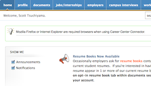 career center connector home screen